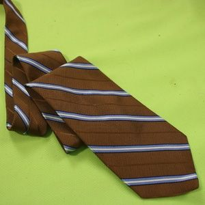 Brooks Brothers Makers Tie Brown Blue Striped Silk